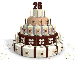 verjaardags chocola taart - 26 jaar