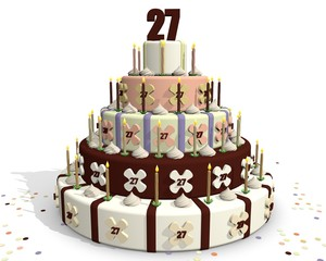chocolade feest taart - getal 27 bovenop