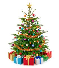 Schicker Weihnachtsbaum mit bunten Geschenken