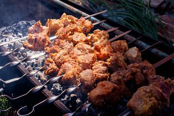 kebabs pork grilling at nature