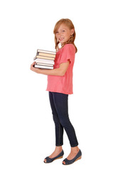 Little girl caring books.