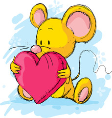 cute mouse with heart pillow