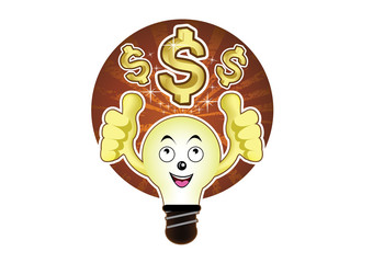 A cartoon light bulb with a bright idea for dollar