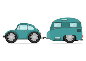Funny old car and caravan