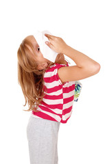 Girl with tissue on her nose.
