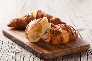 Fresh croissants on a table