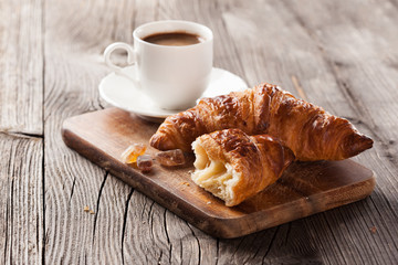 Fresh croissant and coffee