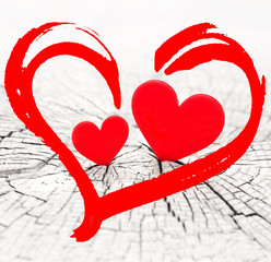 two hearts and valentines day