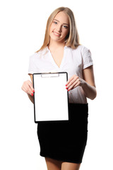 Smiling business woman holding document on clipboard isolated on