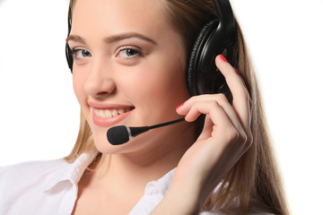 Smiling call center young woman ready for support and contact, i
