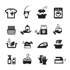 Laundry washing icons set