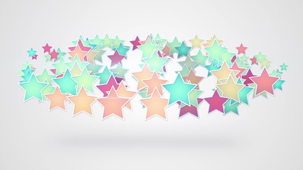 colorful stars on white background seamless loop