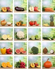 Collage von Früchte, Obst und Gemüse