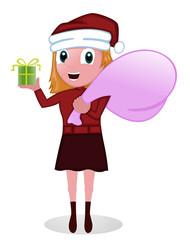 Santa Girl with Bag and Present