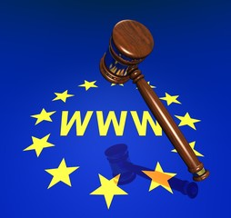 EU-Rights, hammer and www symbol