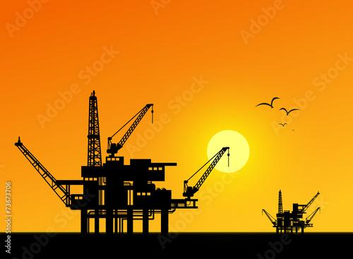 Oil derrick in sea for industrial design. - 73673706
