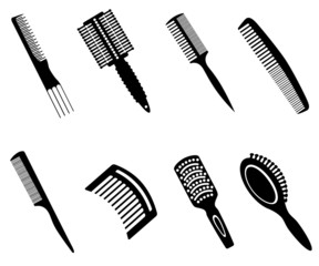 Hairbrushes Silhouette Icons