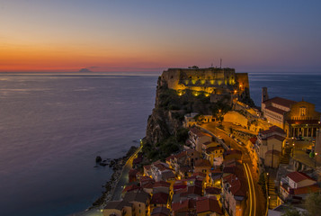 Dusk arrives in Scilla with the Island of Stromboli visible