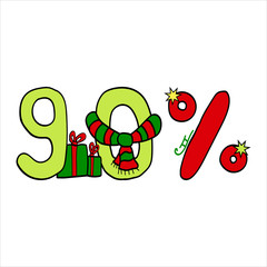 vector Christmas sale symbol for 90 % discount