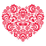 Valentines Day folk art red heart - Polish pattern - 73674509