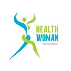 Health woman - vector logo concept. Human character.