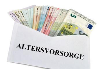 Geldscheine im Briefumschlag - Altersvorsorge