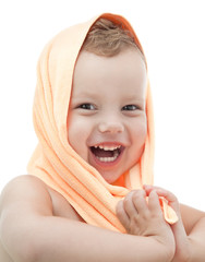 A happy young girl with towel. white background