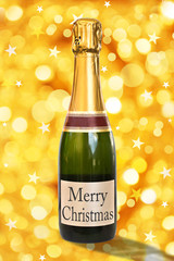 Merry Christmas on a label of a bottle of Champagne