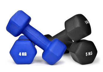 fitness dumbbells isolated on white background