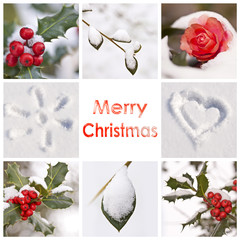 Merry Christmas, snow and winter red and white photos collage