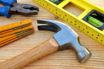 Claw hammer, carpenter meter, water-level and pliers