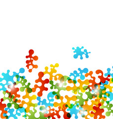 Set colorful figures stylized puzzle