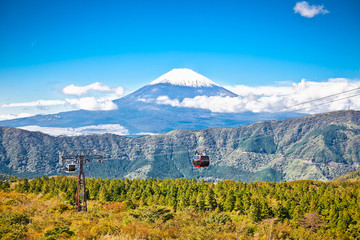 Ropeway at Hakone, Japan with Fuji mountain view