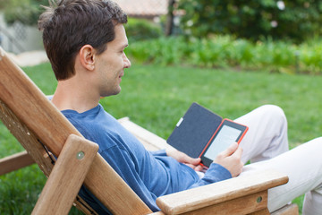 relaxing man reading