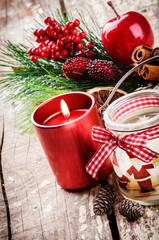 Christmas decorations with various candles