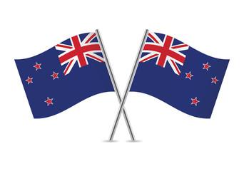 New Zealand flags. Vector illustration.
