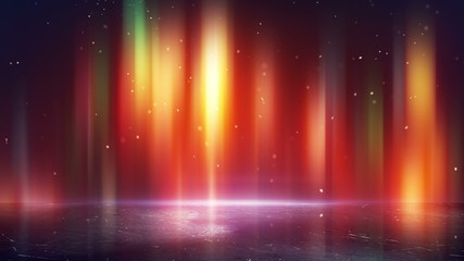 multicolor borealis and reflection loopable background