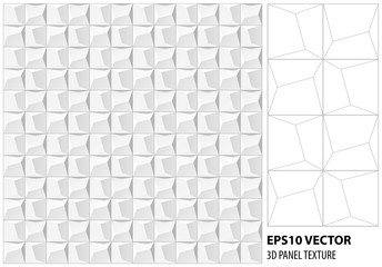 Abstract 3d geometric background. White seamless texture Vector