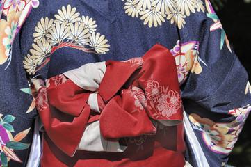 Geisha in blue kimono