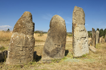 Mysterious Tiya pillars, UNESCO World Heritage Site, Ethiopia.