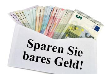 Kuvert mit Geldscheine - Sparen Sie bares Geld!