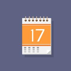 calendar icon color flat design vector