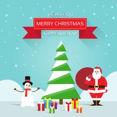 christmas greeting card Santa claus snowman