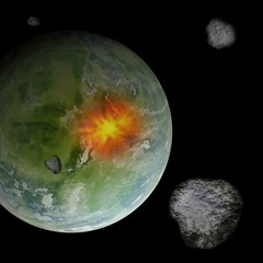 Meteorites in space colliding with Earth like planet,
