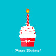 Happy Birthday card with cupcake and candle in flat design style