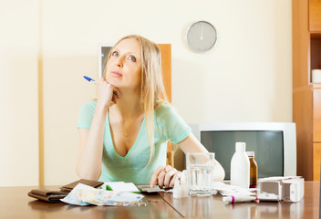 pensive woman counting the cost of medications