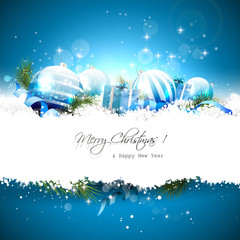 Luxury Christmas greeting card with decorations in the snow