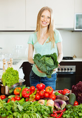Portrait of cheerful beautiful woman with  vegetables