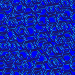 abstract seamless pattern with blue hexagons
