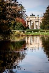 Milan, Italy. Arco della Pace (Arch of Peace) in Sempione Park